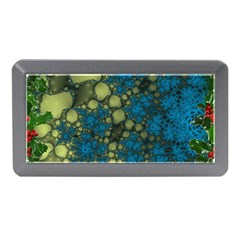 Holly Frame With Stone Fractal Background Memory Card Reader (mini)