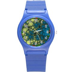 Holly Frame With Stone Fractal Background Round Plastic Sport Watch (s) by Simbadda