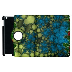 Holly Frame With Stone Fractal Background Apple Ipad 3/4 Flip 360 Case by Simbadda