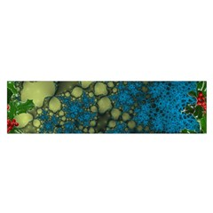 Holly Frame With Stone Fractal Background Satin Scarf (oblong)