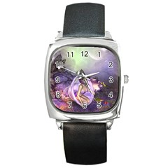 Wonderful Fairy In The Wonderland , Colorful Landscape Square Metal Watch by FantasyWorld7