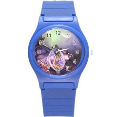 Wonderful Fairy In The Wonderland , Colorful Landscape Round Plastic Sport Watch (s) by FantasyWorld7