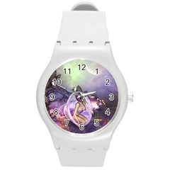 Wonderful Fairy In The Wonderland , Colorful Landscape Round Plastic Sport Watch (m) by FantasyWorld7