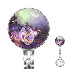Wonderful Fairy In The Wonderland , Colorful Landscape Stainless Steel Nurses Watch by FantasyWorld7
