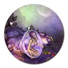 Wonderful Fairy In The Wonderland , Colorful Landscape Round Mousepads by FantasyWorld7