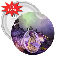 Wonderful Fairy In The Wonderland , Colorful Landscape 3  Buttons (10 Pack)  by FantasyWorld7