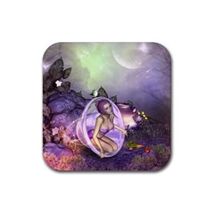 Wonderful Fairy In The Wonderland , Colorful Landscape Rubber Square Coaster (4 Pack)  by FantasyWorld7