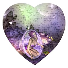 Wonderful Fairy In The Wonderland , Colorful Landscape Jigsaw Puzzle (heart) by FantasyWorld7