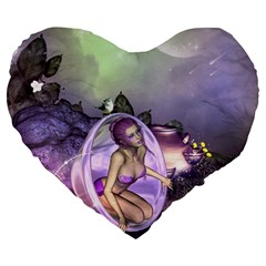 Wonderful Fairy In The Wonderland , Colorful Landscape Large 19  Premium Heart Shape Cushions by FantasyWorld7