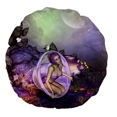 Wonderful Fairy In The Wonderland , Colorful Landscape Large 18  Premium Flano Round Cushions by FantasyWorld7