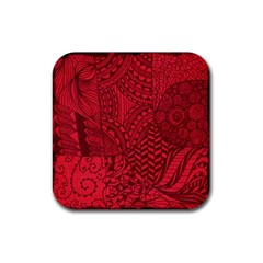 Deep Red Background Abstract Rubber Coaster (square)  by Simbadda