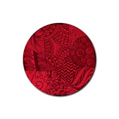 Deep Red Background Abstract Rubber Coaster (round)  by Simbadda