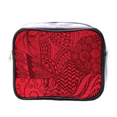 Deep Red Background Abstract Mini Toiletries Bags by Simbadda