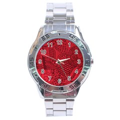 Deep Red Background Abstract Stainless Steel Analogue Watch by Simbadda