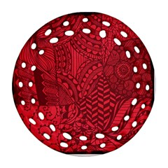 Deep Red Background Abstract Round Filigree Ornament (two Sides) by Simbadda