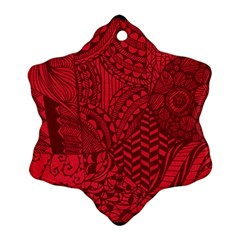 Deep Red Background Abstract Snowflake Ornament (two Sides)