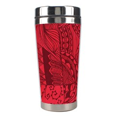 Deep Red Background Abstract Stainless Steel Travel Tumblers by Simbadda