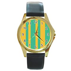 Green And Orange Herringbone Wallpaper Pattern Background Round Gold Metal Watch by Simbadda