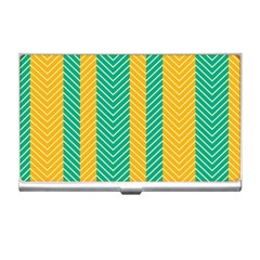 Green And Orange Herringbone Wallpaper Pattern Background Business Card Holders by Simbadda