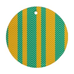 Green And Orange Herringbone Wallpaper Pattern Background Round Ornament (two Sides) by Simbadda