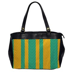 Green And Orange Herringbone Wallpaper Pattern Background Office Handbags by Simbadda