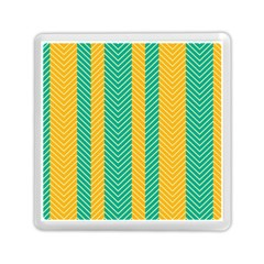Green And Orange Herringbone Wallpaper Pattern Background Memory Card Reader (square)