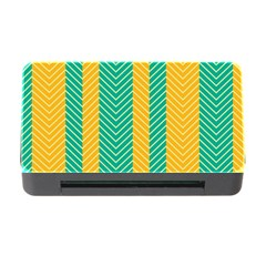 Green And Orange Herringbone Wallpaper Pattern Background Memory Card Reader With Cf by Simbadda