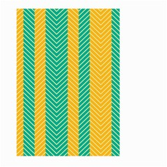 Green And Orange Herringbone Wallpaper Pattern Background Large Garden Flag (two Sides)