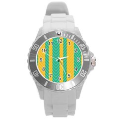 Green And Orange Herringbone Wallpaper Pattern Background Round Plastic Sport Watch (l)