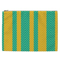 Green And Orange Herringbone Wallpaper Pattern Background Cosmetic Bag (xxl)  by Simbadda