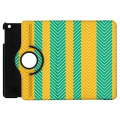 Green And Orange Herringbone Wallpaper Pattern Background Apple Ipad Mini Flip 360 Case by Simbadda