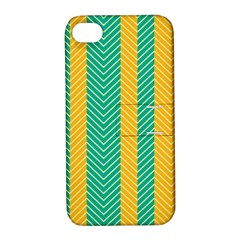 Green And Orange Herringbone Wallpaper Pattern Background Apple Iphone 4/4s Hardshell Case With Stand