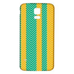 Green And Orange Herringbone Wallpaper Pattern Background Samsung Galaxy S5 Back Case (white)