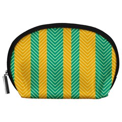 Green And Orange Herringbone Wallpaper Pattern Background Accessory Pouches (large)  by Simbadda