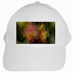 Abstract Brush Strokes In A Floral Pattern  White Cap by Simbadda
