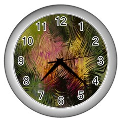 Abstract Brush Strokes In A Floral Pattern  Wall Clocks (silver)