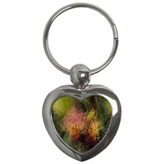 Abstract Brush Strokes In A Floral Pattern  Key Chains (heart)  by Simbadda