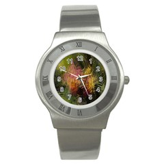 Abstract Brush Strokes In A Floral Pattern  Stainless Steel Watch by Simbadda