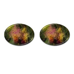 Abstract Brush Strokes In A Floral Pattern  Cufflinks (oval) by Simbadda