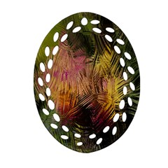 Abstract Brush Strokes In A Floral Pattern  Oval Filigree Ornament (two Sides) by Simbadda