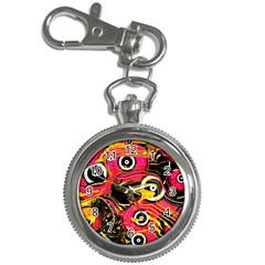 Abstract Clutter Pattern Baffled Field Key Chain Watches