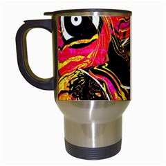 Abstract Clutter Pattern Baffled Field Travel Mugs (white) by Simbadda
