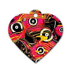 Abstract Clutter Pattern Baffled Field Dog Tag Heart (one Side)