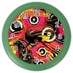 Abstract Clutter Pattern Baffled Field Color Wall Clocks by Simbadda