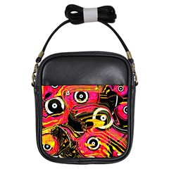 Abstract Clutter Pattern Baffled Field Girls Sling Bags by Simbadda