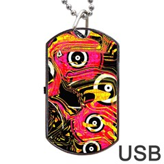 Abstract Clutter Pattern Baffled Field Dog Tag Usb Flash (two Sides) by Simbadda