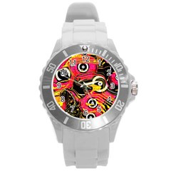 Abstract Clutter Pattern Baffled Field Round Plastic Sport Watch (l) by Simbadda