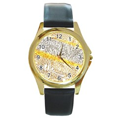 Abstract Composition Pattern Round Gold Metal Watch by Simbadda