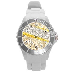 Abstract Composition Pattern Round Plastic Sport Watch (l)