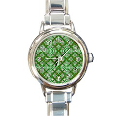 Digital Computer Graphic Seamless Geometric Ornament Round Italian Charm Watch by Simbadda
